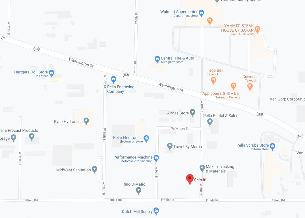 Map - Ship It - 809 W 8th St - Pella IA